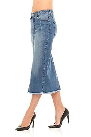 classic below knee denim skirt with split by nyc