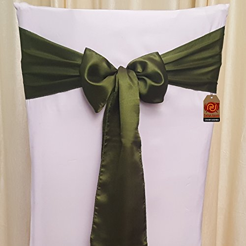 Parfair Dessin Pack of 10 Satin Chair Bow Sashes For Wedding Banquet Reception Party Decoration, Bright Silk and Smooth Fabric - Olive Green