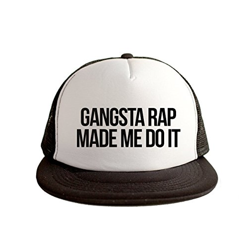 Gangsta Rap Made Me Do It Swag Hip Hop Print 80s Style Snapback Hat Cap White Black
