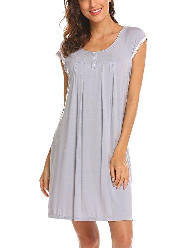 Ekouaer Women Short Sleeve Nightgowns Cute Lace Cotton Sleepwear Nightshirts (Light Grey XL)