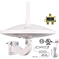 Outdoor HDTV Antenna UFO 720° Dual-Omni Digital Signal Reception 65 Miles with Smartpass Amplifier and 2-Way Splitter Fit for Outdoor/RV/Attic Use (33ft Coaxial Cable)