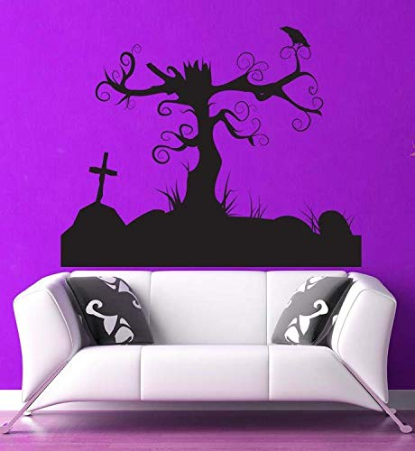 (Tree Decal Cemetery Headstone Halloween Decorations Swirl Decal Wall Sticker Holiday Wall Art Gothic Decor Cross Decal Dorm Decor Made in)