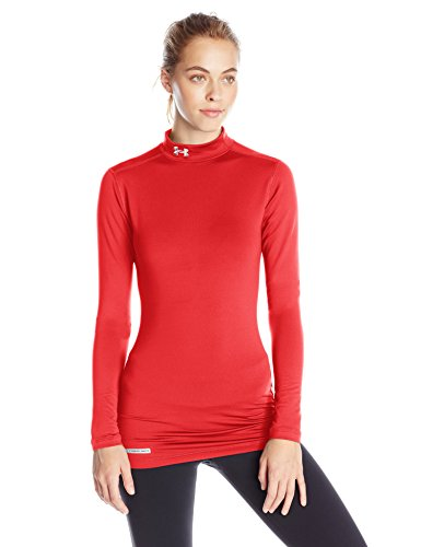 Under Armour Women's ColdGear Authentic Mock, Red (600)/Metal, Large