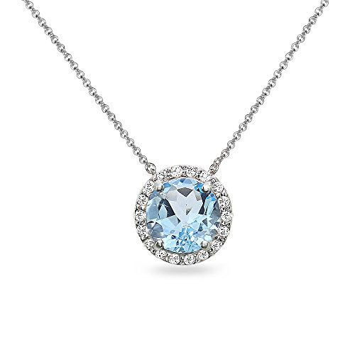 (Sterling Silver Blue and White Topaz Halo Slide Pendant Necklace)