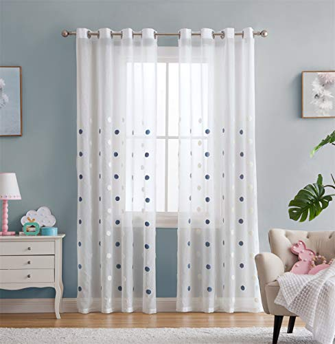 - Vandesun White Sheer Curtain with Embroidery Blue and White Dots for Bedroom Kids Room Small Windows - 2 Panels (Dot Sheer, 40 x 63)
