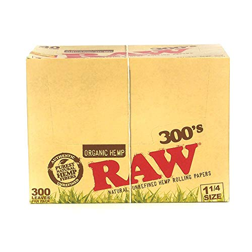 Raw 300 Organic 1.25 1 1/4 Size Rolling Papers 5 Pack = 1500 Leaves by Raw (Image #1)