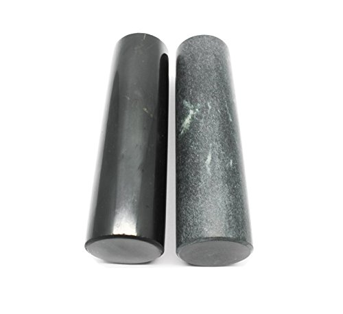 Karelian Heritage Genuine Shungite and Soapstone Harmonizers Set of 2 Polished Healing Rods HCP1