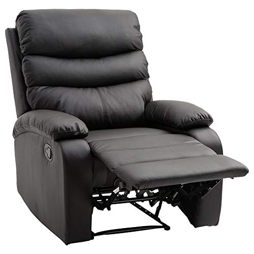 HomCom PU Leather Traditional Manual Recliner Chair – Black
