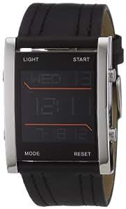 TOM TAILOR 5406001 - Reloj digital de caballero de cuarzo con correa de piel negra (alarma, luz, cronómetro) - sumergible a 30 metros