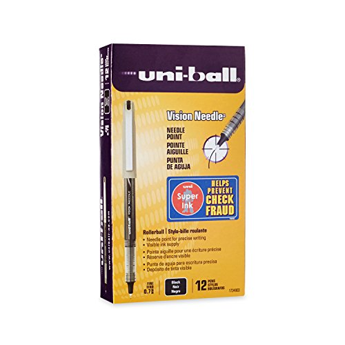 - uni-ball Vision Needle Rollerball Pens, Fine Point (0.7mm), Black, 12 Count