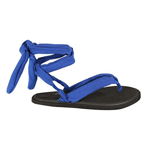 Coshare Mujeres Fashion Assorted Yoga Sling Sandalias Planas Flip Flop Azul = Tela Pu Plana