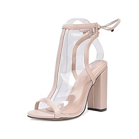RUGAI-UE Tacchi alti da donna, sandali europei e americani con tacco medio e trasparente RUGAI-UE.CO
