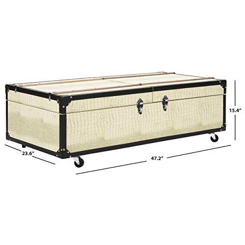 - Safavieh FOX9515B Home Collection Zoe Cream Storage Trunk with Wine Rack Coffee Table, Creme