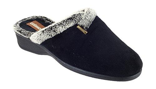 Cotswold Ladies Northleach Mule Black Fur Trim Mule Slipper 8 80t1zeX