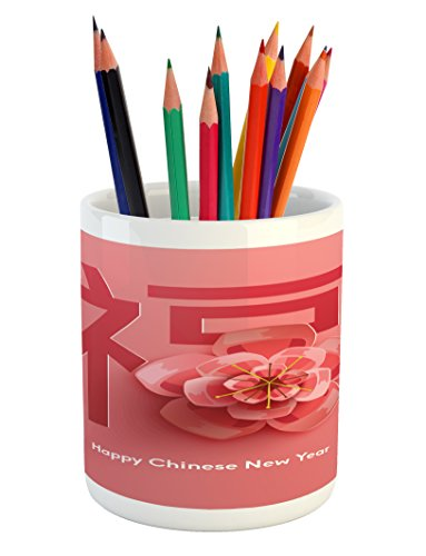 Chinese New Year Pencil Pen Holder by Ambesonne, Flower with a Celebration Phrase in Pink Shades Asian Tradition, Printed Ceramic Pencil Pen Holder for Desk Office Accessory, Coral and Dark Coral