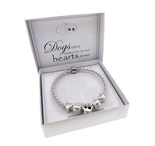 Dog Lovers Leather Charm Bracelet Pandora Style Gift Boxed 21cm