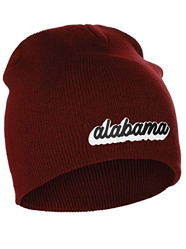 I&W Classic USA Cities Winter Knit Cuffless Beanie Hat 3D Raised Layer Letters, Alabama Burgundy, White Black (Alabama Beanie Hat)