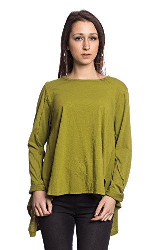 Abbino 17225 Camisas Blusas Tops para Mujeres - Hecho en ITALIA - 8 Colores - Entretiempo Primavera Verano Otoño Mujeres Femeninas Elegantes Manga Larga Casual Vintage Oficina Fiesta Rebajas Oliva Verde