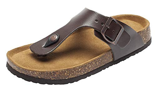 Fashion Leather Thong Cork Sandals for Women Casual Cork Flat Sandals Anti-Skid for Summer Beach Brown US 6