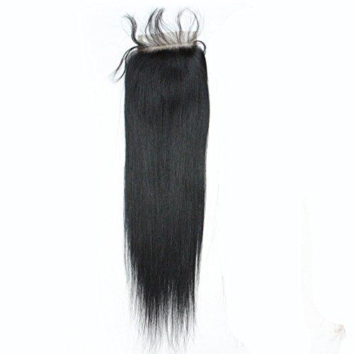 Forawme Brazilian Virgin Human Hair Top Closure Pre Plucked 18 Inch 130% 1B 4X4 inch Straight Human Hair Free Part Lace Closure With Baby Hair