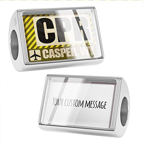 NEONBLOND Custom Charm Airportcode CPR Casper, WY 925 Sterling Silver Bead