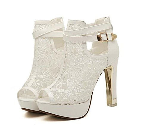 Sandales Femmes Toe Lace Nightclub Haut Party Talon EUR35UK3 Fall Summer Peep Hollow Nouveau Platform NVXIE Talon Prom WHITE Chaussures Spring qfwdXpp8