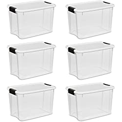 Sterilite 19859806, 30 Quart/28 Liter Ultra Latch Box, Clear with a White Lid and Black Latches, 6-Pack