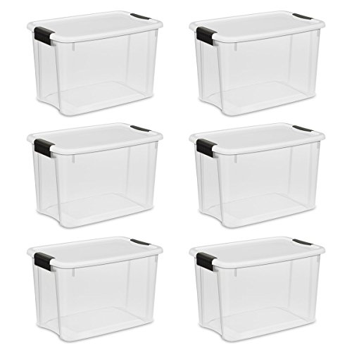 Plastic Stacker - Sterilite 19859806, 30 Quart/28 Liter Ultra Latch Box, Clear with a White Lid and Black Latches, 6-Pack