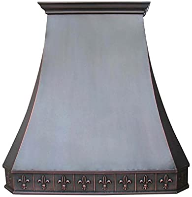 Sinda H3SAO Copper Range Hood with Hand Embossed Pattern Wrapped Around Comes with High Airflow Vent