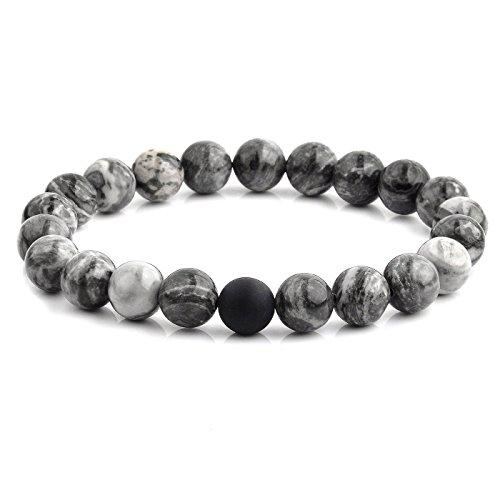 Crucible Jewelry Mens Polished Jasper and Matte Onyx Beaded Stretch Bracelet (10.5mm Wide), Grey, One ()