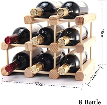 Estantería de vino Estante de vino de pie de pino natural de 3 niveles con organizador Estante de vino apilable en la encimera Estante de vino modular Portabotellas resistente Hogar o cocina con marti