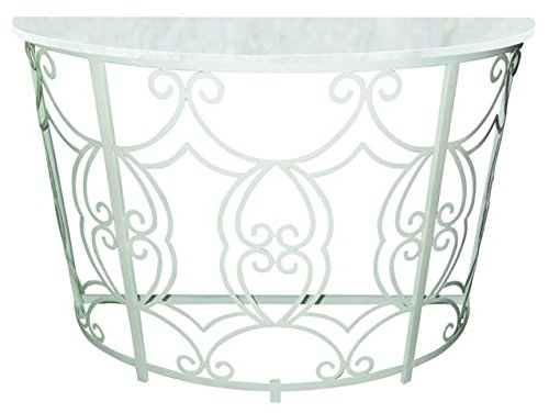 (White Iron Scroll Demilune Console Table | Marble Top Romantic Cottage)