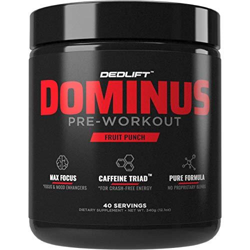 DEDLift Dominus Pre Workout Powder, Crash-Free Energy, Tunnel Vision Focus, Muscle Pumps, Fruit Punch, 40 Servings (The Best Pre Workout Supplement 2019)