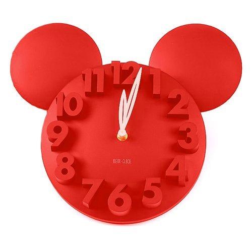 Meidi Clock Modern Design Mickey Mouse Big Digit 3D Wall Clock Home Decor Decoration - Red -