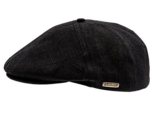 Sterkowski Light Breathable Linen Summer 5 Panel Flat Cap US 7 1/8 Black (Where Would You Measure)