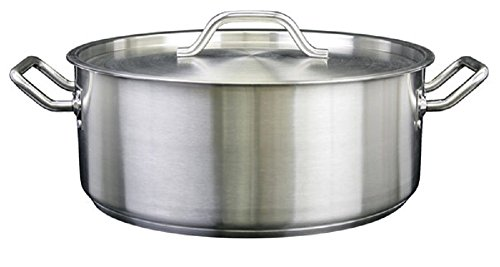 Thunder Group SLSBP020, 20 Quart Stainless Steel Brazier with Cover, Commercial Braising Pan with Lid, Professional Braiser by Thunder Group