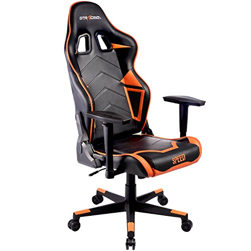 GTracing Ergonomic Office Chair Racing Chair Backrest and Seat Height Adjustment Computer Chair With Pillows Recliner Swivel Rocker Tilt E-sports Chair (102 ORANGE) by GTRACING