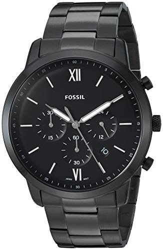 (Fossil Men's Neutra Chrono Quartz Stainless-Steel-Plated Strap, Black, 22 Casual Watch (Model: FS5474))