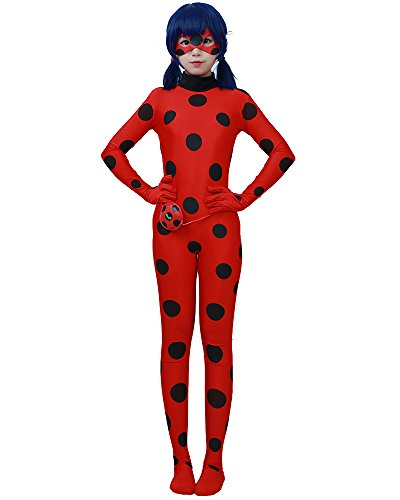 Miccostumes Women's Lady bug Cosplay Jumpsuit (S) (Lady Costume Mask)