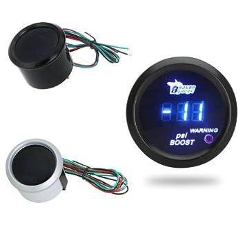 "Kingzer 2 ""LCD azul luz auto coche digital Turbo Boost Gauge Medidor alerta +"