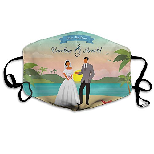 MINGYING Beach Wedding Save The Date Anti Dust Breathable Face Mouth Mask for Man Woman
