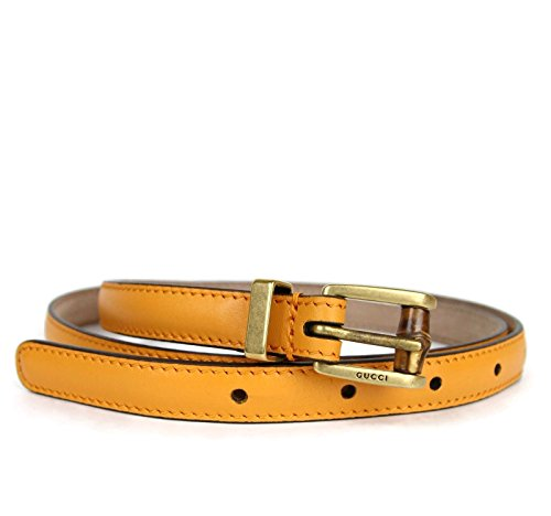 Gucci Women's Leather Bamboo Buckle Skinny Belt 339065 (80 / 32, Orange/Yellow) by Gucci
