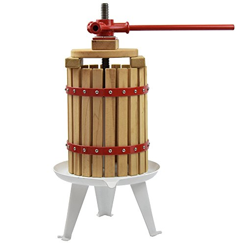 Fruit Wine Press 1.6 Gallon Solid Wood Basket Cider Press Apple Press Berries Press Wine Making Press (Cider Press)