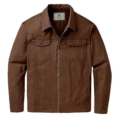 WenVen Men's Windproof Outdoor Workwear Cotton Jackets(Coffee,M)