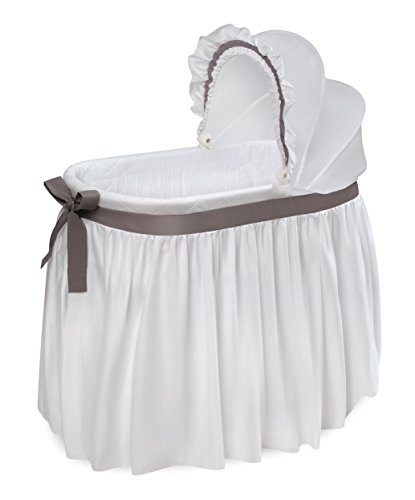 Oval Crib Set - Badger Basket Wishes Oval Bassinet Full Length Solid Skirt, White/Gray