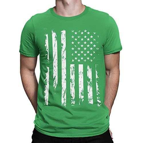 (SpiritForged Apparel Distressed White USA Flag Men's T-Shirt, Kelly XL )