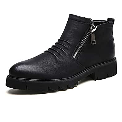 2019 New Arrival Men Boots Fashion Ankle Boots for Man Chunky Heel Microfiber Upper Side Zipper Decoration Pointed Toe Durable Fashionable (Color : Black, Size : 6 UK)