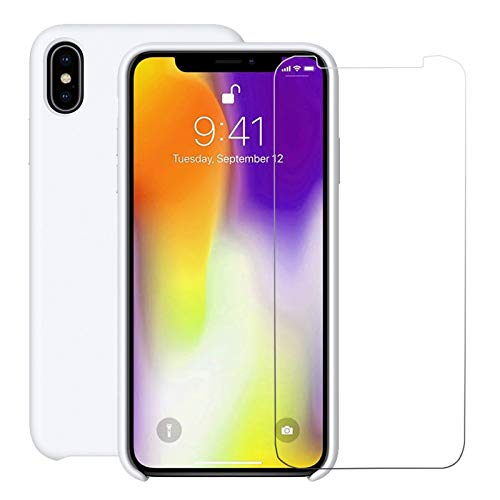 iPhone Xs Max Silicone Case with Free Tempered Glass Screen Protector for Apple iPhone Xs Max 6.5 2018 Slim Fit Lined with Soft Microfiber Cloth Cushion