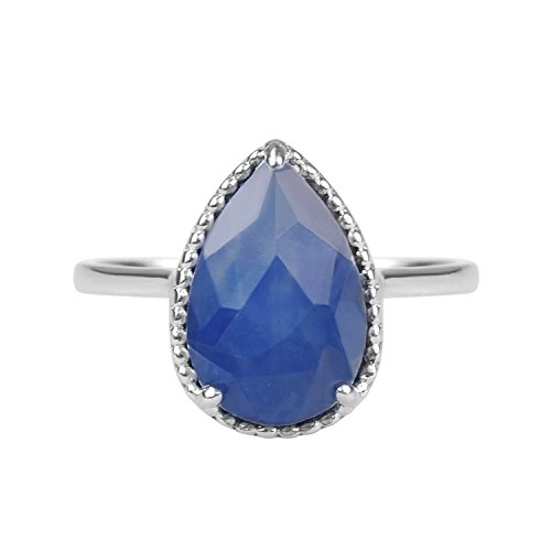 AURA BY TJM 925 STERLING SILVER PEAR SHAPE RING SET WITH 2.99 CTW, FANCY CUT CRYSTAL & INDIAN SAPPHIRE DOUBLET