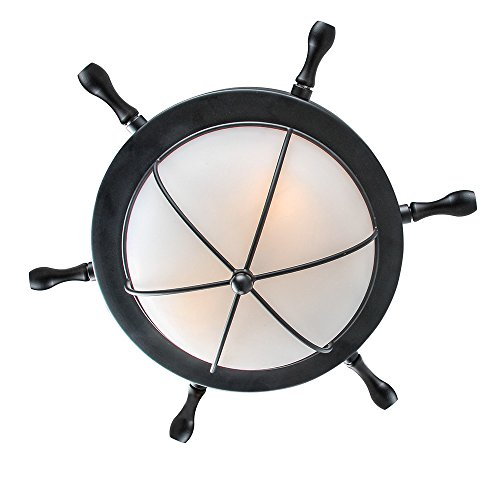 LNC A03196 2 Nautical Ceiling Lights Flush Mounts, Black